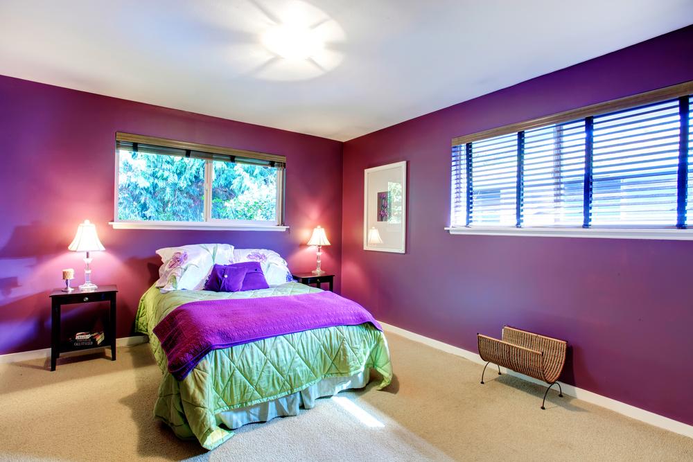 Фиолетовое на зеленом на стенах